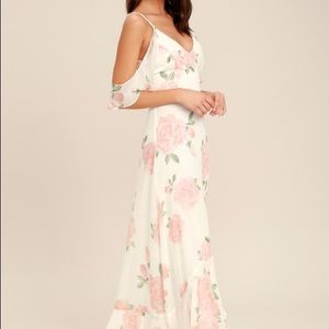 NWT lulus white with pink floral maxi gown